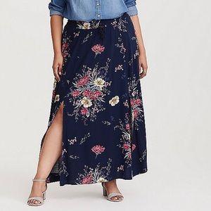 Torrid Floral Print Slit Maxi Skirt